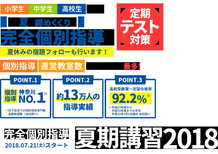 この夏は完全個別指導で学力アップ 個別指導 直営教室数 神奈川県で最多!