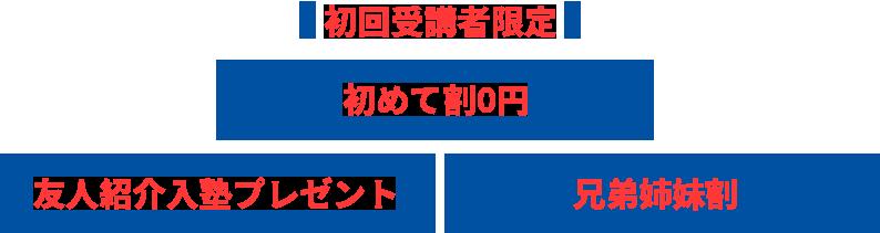 初回受講者限定 初めて割0円 友人紹介入塾プレゼント 兄弟姉妹割